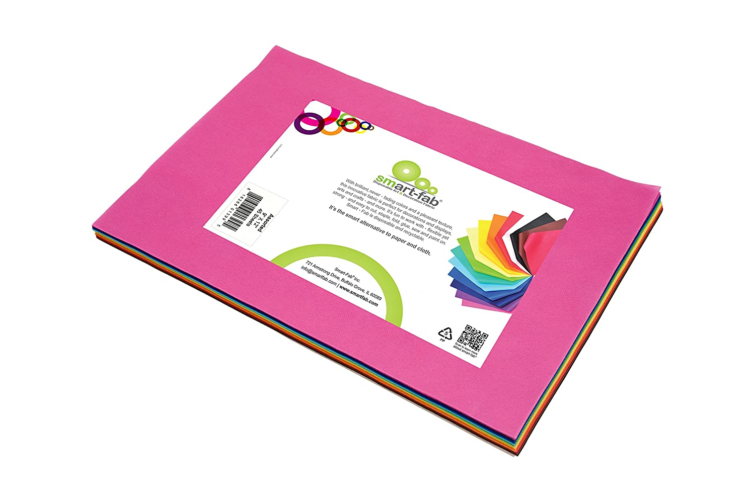 Smart-Fab Disposable Fabric, 9 x 12 Sheets, Assorted, 45 per Pack, Perfect for Schools, Classrooms, Crafts, Art, Bulletin Boards, Sew, Draw, Paint it, Unique Non Woven Material