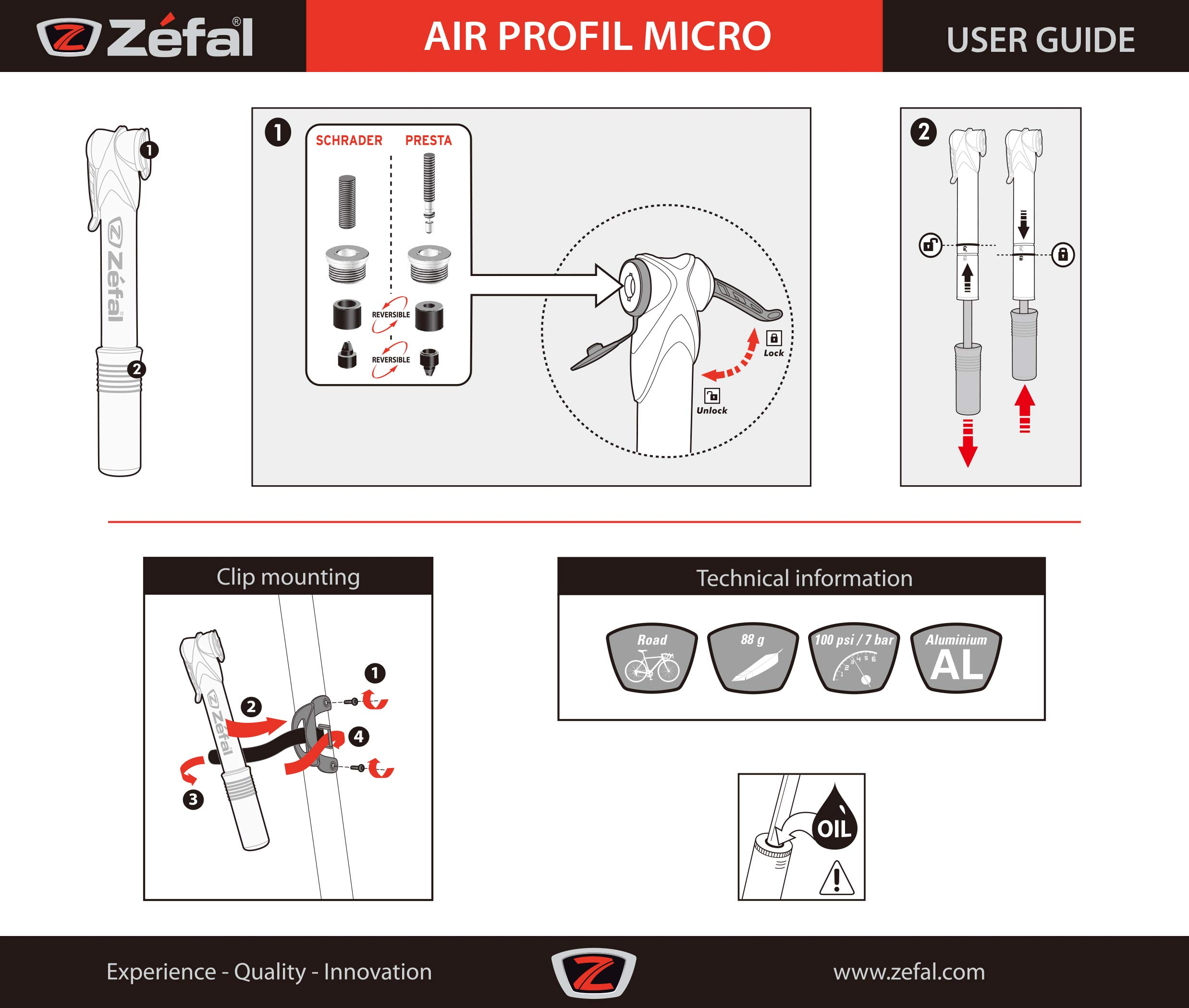 ZEFAL Mini hinchador Air Profil Micro Aluminio Plata/Azul, Unisex ...
