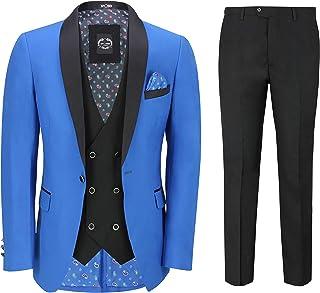 Xposed Mens 3 Piece Suit Tuxedo Dinner Jacket Wedding Party Royal Blue Blazer Waistcoat Trouser