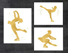 Figure Skating - 3 Pack of Gold Poster Print Photo Quality - Made in USA - Ice Skating, Olympics, Ice Dancing, Ice Skater, Figure Skater, Frame not included (8x10, Ice Skater 3 Pack - Gold)