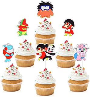 18pcs Ryan's World Cupcake Toppers - Cartoon Party Glitter Gus Combo Panda Cupcake Toppers - Boys Birthday Party Muffin De...