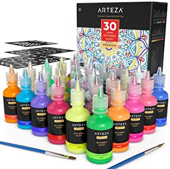 ARTEZA 3D Permanent Fabric Paint, Set of 30 Individual Colors (Include Neon & Fluorescent) for Textile, Fabric, T-Shi...