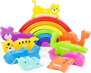 Boley Plastic Rainbow Stacking Block Toy Set - Baby Animal Building Shape Sorter Blocks - Great Educational Learning Toy for Kids, Children, Toddlers