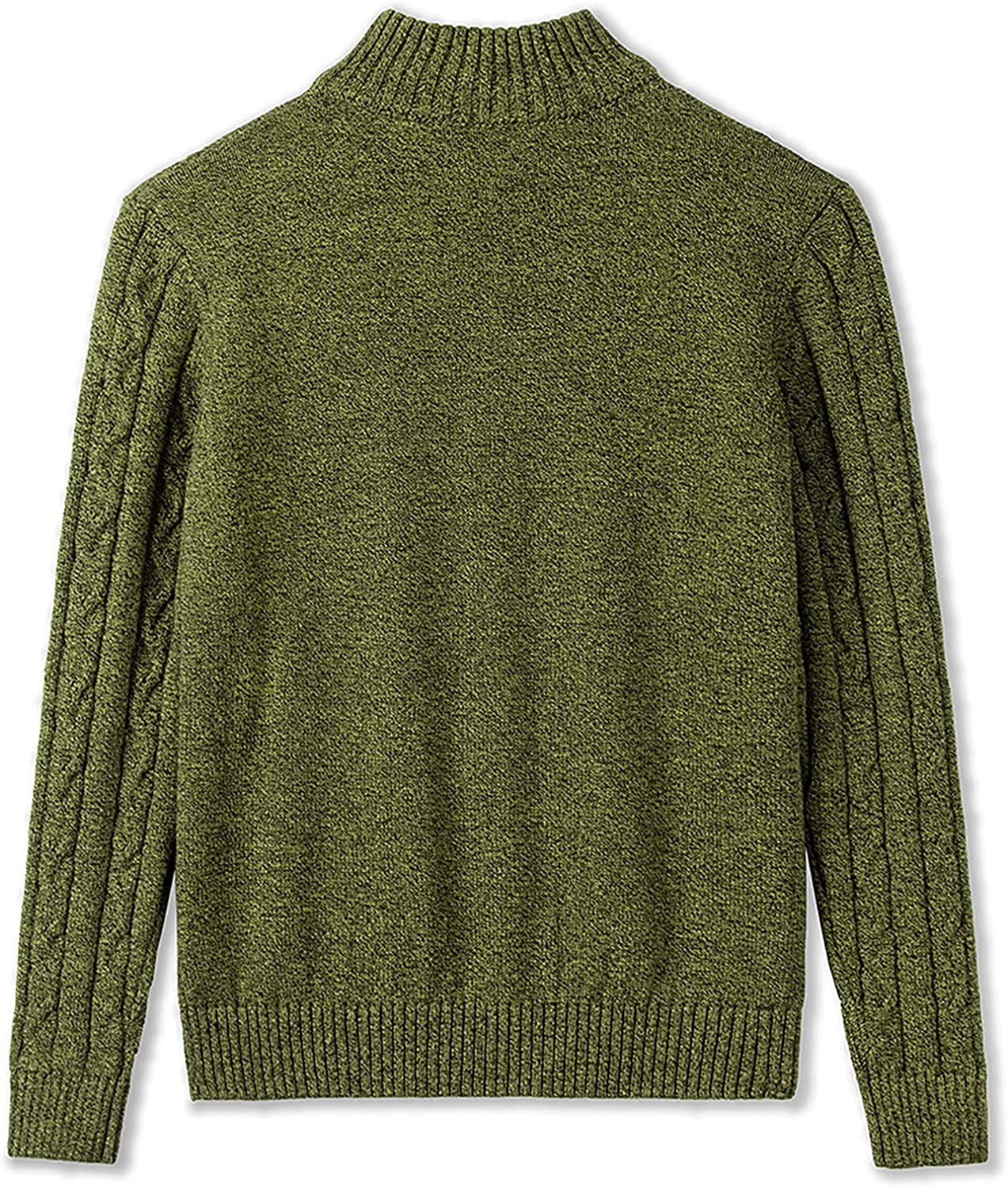 Amazon Essentials 1/4 Zip Sweater Casual Cable Knit Long Sleeve Pullover Sweatshirt for Boys Olivine 5-6X