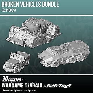 Broken Vehicles Bundle, Terrain Scenery for Tabletop 28mm Miniatures Wargame, 3D Printed and Paintable, EnderToys