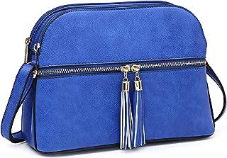 Women Tassel Zipper Pocket Crossbody Bag Shoulder Purse Fashion Travel Bag with Multi Pockets