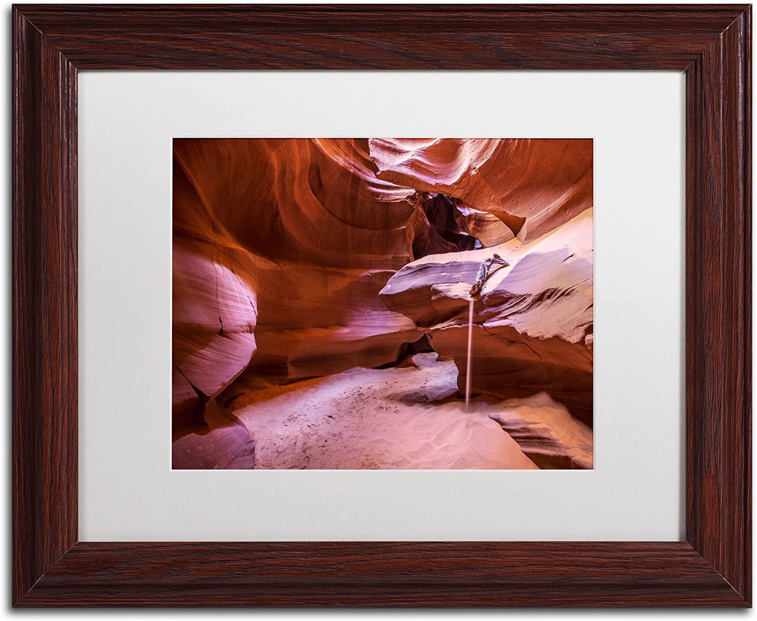 Trademark Fine Art Weeping Sand Art by Pierre Leclerc in Wood Frame, 11 by 14Inch, White Matte