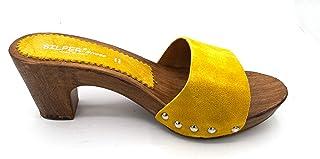 Silfer Shoes - Zoccolo in Pelle Scamosciata, Colore Giallo, Art. Noemi - Ideale Anche per Stare in casa