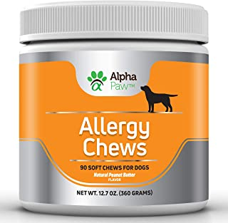 Alpha Paw Allergy Chews - Dog Allergy Relief with Krill Oil, Turmeric, Probiotics, Colostrum - Immune Support, Seasonal Allergy, Pet Itch - 360 Grams Approx. 90 Soft Chews