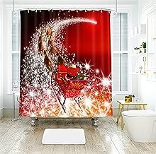AMDXD Shower Curtain Polyester Fabric 48x72Inch (120x180CM), Santa Claus Reindeer 3D Shower Curtains for Bathroom, Bathroo...