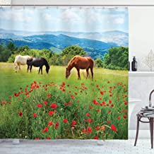 Ambesonne Horses Shower Curtain, Various Kinds of Horses Eating Grass in Field Mountain Landscape Rural Scene Print, Cloth Fabric Bathroom Decor Set with Hooks, 84 Long Extra, Green Red