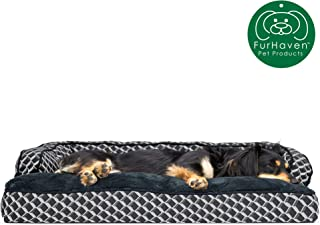 Furhaven Pet Dog Bed | Plush Faux Fur & Décor Comfy Couch Pillow Cushion Traditional Sofa-Style Living Room Couch Pet Bed w/ Removable Cover for Dogs & Cats, Diamond Gray, Medium