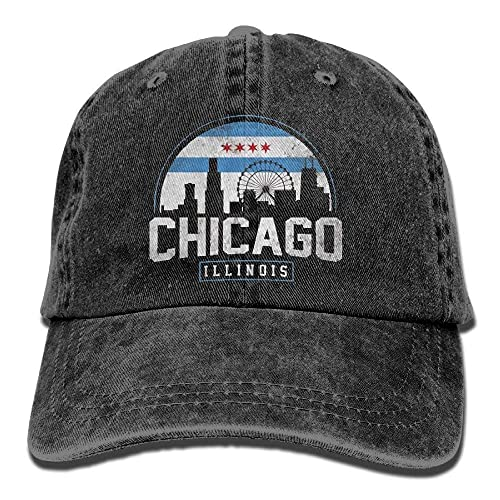 NVJUI JUFOPL Unisex Chicago City Flag Skyline USA Washed Denim Cotton  Baseball Cap Sport Outdoor Adjustable 2be00955680