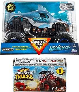 Creature Crew Monster Jam Big Action 2019 Megalodon Giant Shark + Hot Wheels Blind Box Series Mini Monster Truck with Launcher