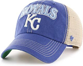 '47 Brand MLB Kansas City Royals Clean Up Tuscaloosa Trucker Mesh Cap, Snapback Adjustable hat Blue