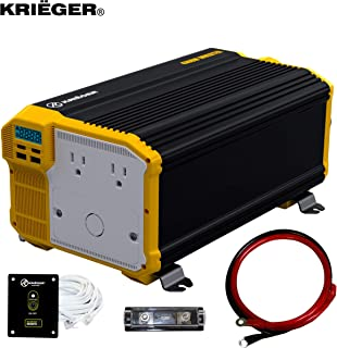Krieger 4000 Watt 12V Power Inverter Dual 110V AC Outlets, Installation Kit Included, Back Up Power Supply Perfect for an Emergency, Hurricane, Storm or Outage - MET Approved to UL and CSA Standards