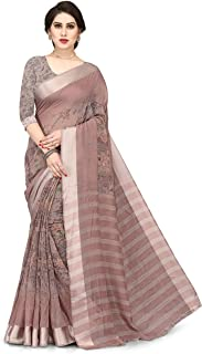 SOURBH Fancy Printed Cotton Saree For Women With Un-stitched Blouse Piece