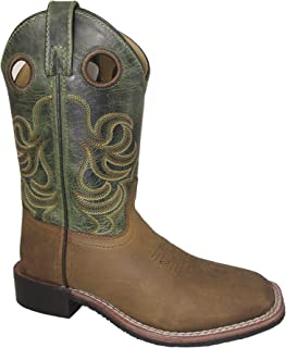 Smoky Children's Jesse Embroidered Leather Western Cowboy Boots - Brown Crackle