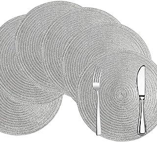 Comius Sharp Set de Table Rond Set de 6 napperons en Coton Lavable 15 Pouces napperon tissé résistant à la Chaleur nappero...