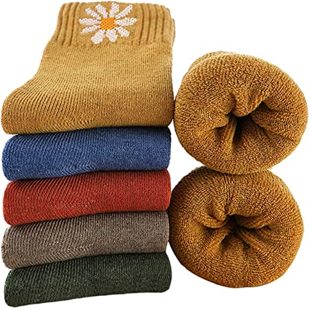 MOSOTECH 5 Pairs Ladies Thermal Socks, Womens Warm Wool Socks for Winter, UK Size 4~8