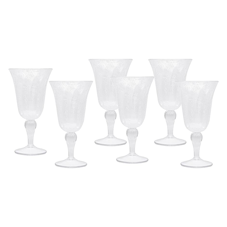 Clear Acrylic Goblets, Decorative Wine Glasses for Weddings, Birthdays, and Everyday Use, Set of 6
