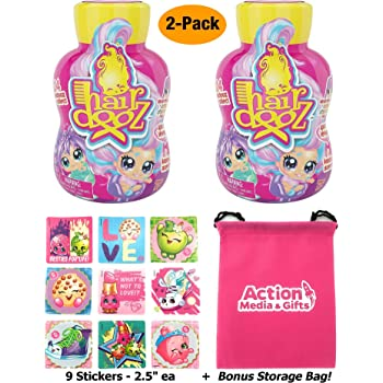 Hairdooz Scented Salon Doll (2 Pack) Gift Bundle with 9 Stickers + Compatible Toy Storage Bag