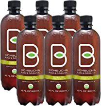 B-tea Kombucha Raw Organic Tea, Only 2g of Sugar, Probiotics & Prebiotic, Kosher, Lemon Balm Green, 16 oz, 6 Piece