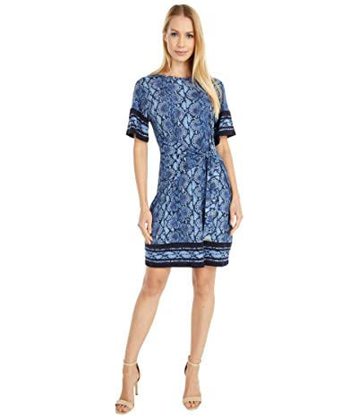 MICHAEL Michael Kors Petite Snake Border Tie Dress (Chambray) Women