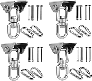 MDAIRC Swing Swivel Hook 4 pcs, Swing Hangers and Hammock Spring and Swing Swivel Spinner Kglobal Swivel Hook and Locking Snap Hooks for Wooden Sets,tire Swing Swivel, Seat Trapeze Yoga