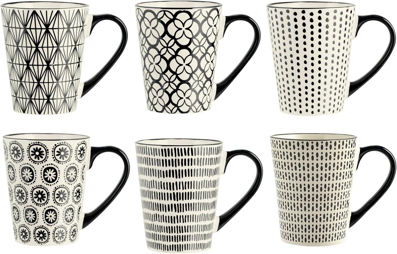 H&H Vhera, Juego de 6 Tazas, Stoneware, Color Crema y Negr, 350 ml, Piedra, 6 Unidad (Paquete de 1), 6