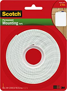 Scotch Brand 112L Permanent Mounting Tape, 1 Inch x 125 Inches, White