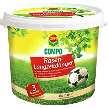 COMPO Rasen-Langzeitdünger, 3 Monate Langzeitwirkung, Feingranulat, 8 kg, 320 m²