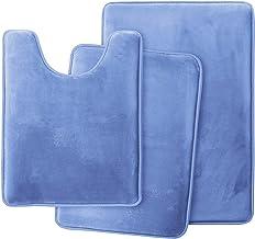Clara Clark Memory Foam Bath Mat Ultra Soft Non Slip and Absorbent Bathroom Rug, Calm Blue