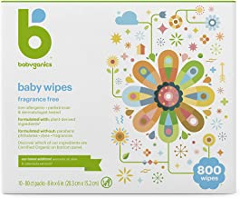 Babyganics Baby Wipes, Unscented, 800 Count (10 Packs of 80)