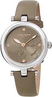 Akribos XXIV Women's Diamond Accented Heart Engraved Dial Grey Leather Strap Watch - Packed in a Beautiful Gift Box - AK1044GY