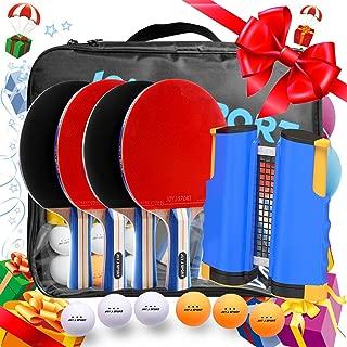 Joy.J Sport Ping Pong Paddle Set with Retractable Net - 4 Premium Table Tennis Rackets - 6 Standard 3-Star Balls, Portable Cover Case Bag