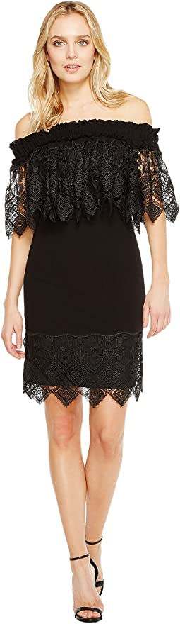 Off the Shoulder Silk Dress Trimmed in Lace