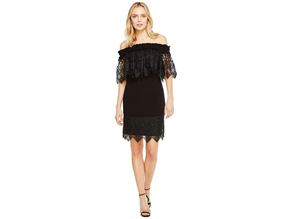 Badgley Mischka Off the Shoulder Silk Dress Trimmed in Lace (Black) Women