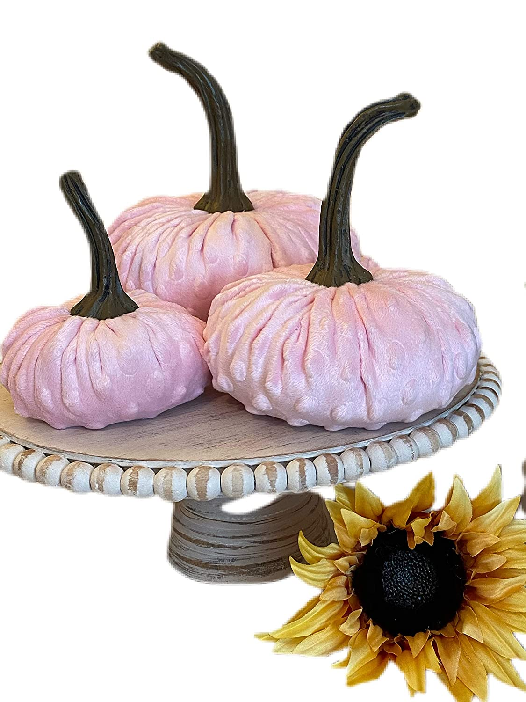 Nubby Mink Velvet Pumpkins {PINK} sold out Set farm 3 Sale Different Sizes; of