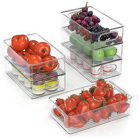 FINEW Réfrigérateur Organizer 6er Set (Petit), Boîte à tiroirs en Plastique, Organisateur de Boîte de Rangement Transparent avec Poignée, Idéal pour Cuisines, réfrigérateur, armoires - sans BPA