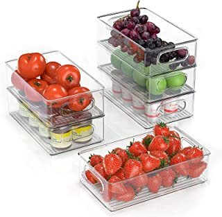 FINEW Réfrigérateur Organizer 6er Set (Petit), Boîte à tiroirs en Plastique, Organisateur de Boîte de Rangement Transparen...