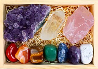 Premium Grade Crystals and Healing Stones in Wooden Display Box - 7 Tumbled Chakra Gemstones, Amethyst Crystal, Rose Quartz, Quartz Crystal Point + Guide & Instructions - Gift Kit