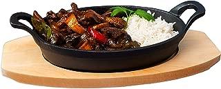 Zodiac Round Sizzle Dish with Wooden Trivet, Cast Iron, Black