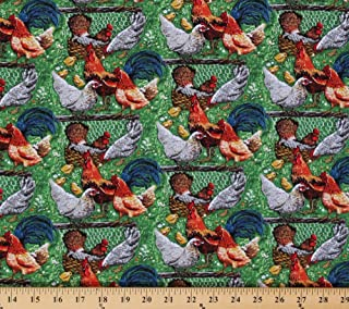 Cotton Down On The Farm Chickens Rooster Hen Chick Chicks Farmyard Fowl Cotton Fabric Print by the Yard (8185)