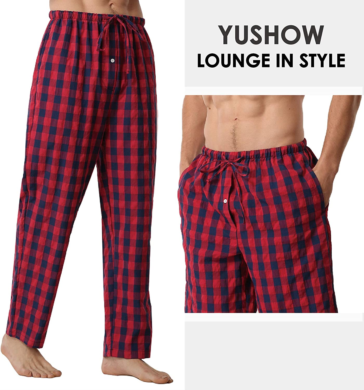 Mens Pyjamas Bottoms 2 Pack Comfy Cotton Checked Men Lounge Pants with Pockets Pyjama Trousers