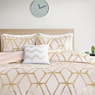 Comfort Spaces Vivian 4 Piece Comforter Set Ultra Soft All Season Lightweight Microfiber Geometric Metallic Print Hypoallergenic Bedding, Full/Queen, Blush/Gold