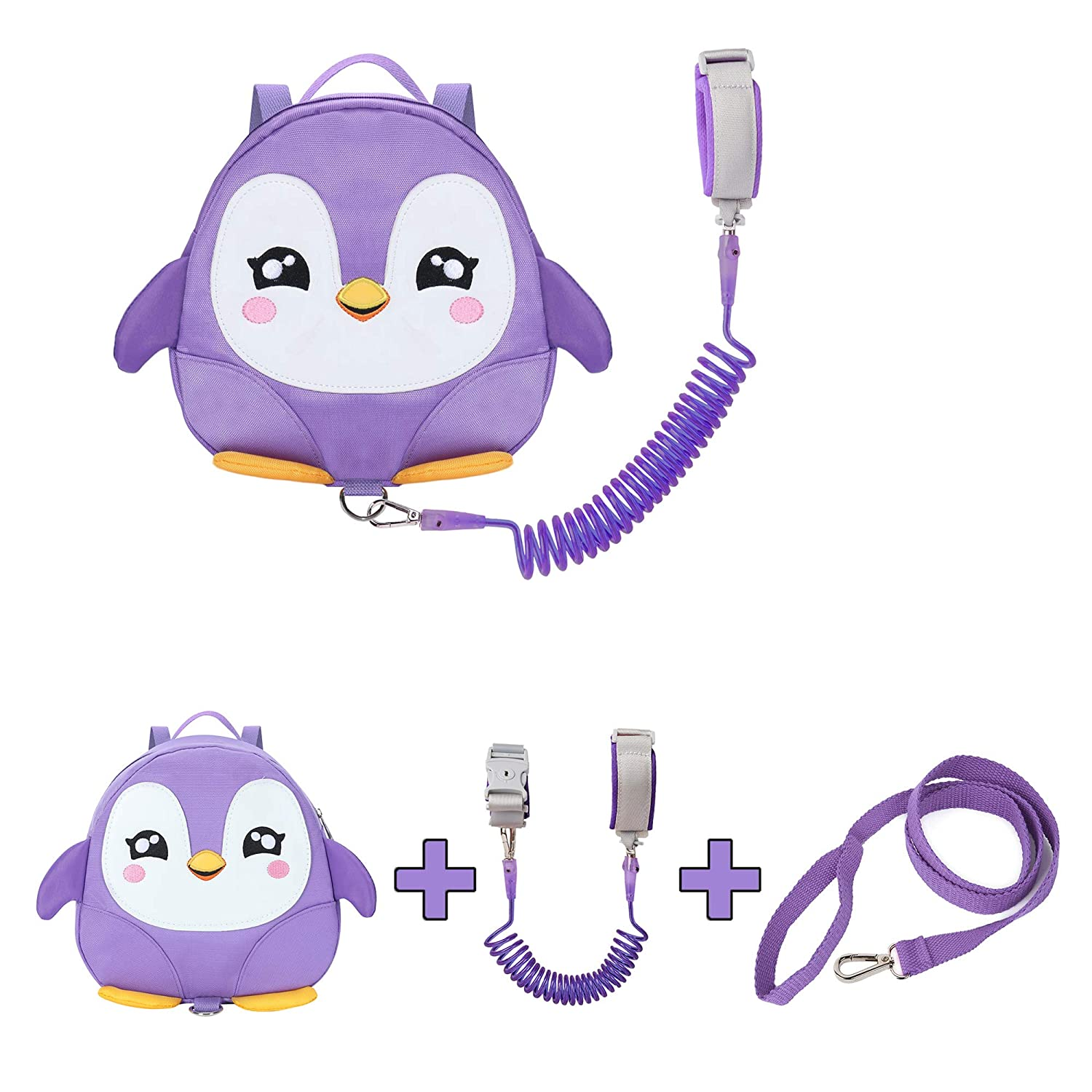 EPLAZA Toddler Leashes Penguin-Like Backpacks with Anti Lost Wrist Link Wristband for 1.5 to 3 Years Kids Girls Boys Safety (Penguin Light Purple)