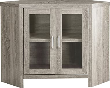 "Monarch Specialties I Corner with Glass Doors TV Stand, 42"", Dark Taupe"