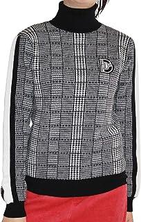7596 BK LL グレンチェック柄ニット XL ブラック 大きいサイズ ニット ゴルフ デルソル ゴルフウェア レディース