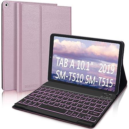 Funda con Teclado Español Ñ para Samsung Galaxy Tab A 10.1 2019, DINGRICH Bluetooth Teclado 7 Color Retroiluminación Inalámbrico Extraíble Magnético ...